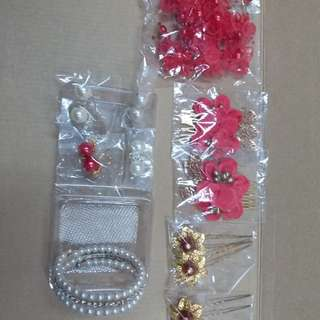 結婚頭飾,耳環,手鈪,全部$90