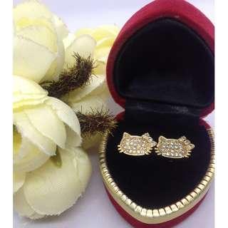 Authentic Bangkok Gold 10k Saudi Gold Hello Kitty Stud Earrings with Zirconia Stones Non Tarnish (Not Pawnable