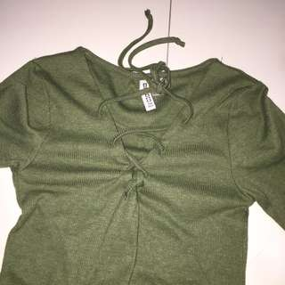 H&m khaki green lace up top