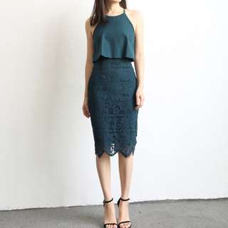 #15off Fake two pieces lace dress
