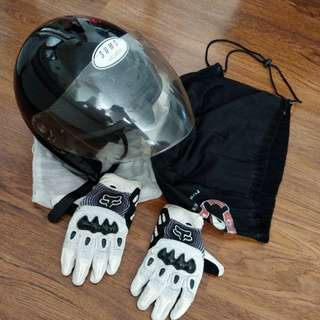 Helmet and gloves for sale