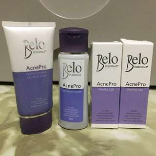 Belo AcnePro Bundle: Gel Face Wash, Treatment Toner, & 2 Pimple Gel (with FREE Cosrx Sample)