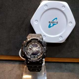 * FREE DELIVERY * Brand New 100% Authentic Casio BabyG Black & Stars Baby G Ladies Watch Baby-G BA110ST 1 BA110ST-1ADR