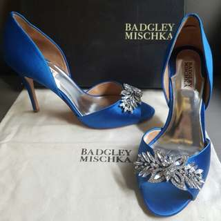 Badgley Mischka blue satin heels