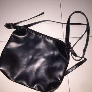 Black Pu Leather Sling Bag