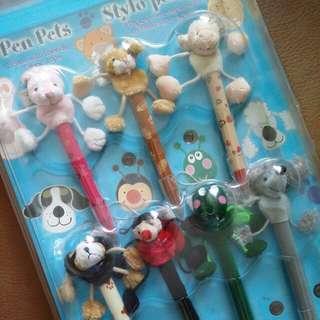 全新未開封~動物造型筆 1套7支 set of 7 new pen pets (with package)