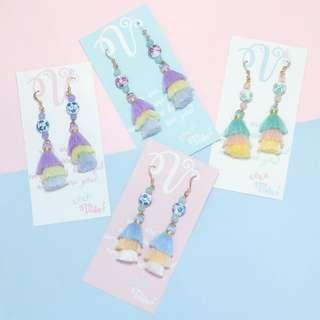 Floral Beaded 3 Tier Tassel earrings