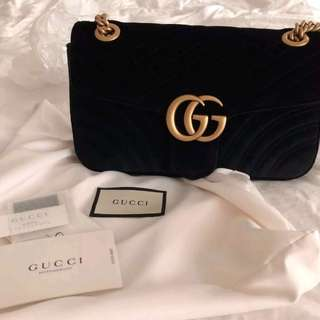 Gucci Black Marmont Velvet Bag - Authentic