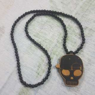 Replica Brand New Good Wood Hip Hop Skull Bones Necklace