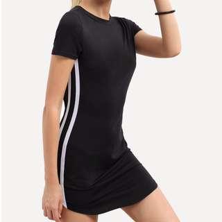 White striped black dress