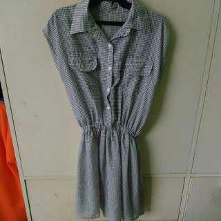 Plaid gartered dress