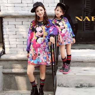 PO Mother Daughter Long Sleeve Cartoon Dress