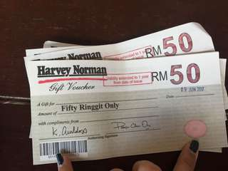 500 rm harvey norman gift voucher. Sell 450rm!!