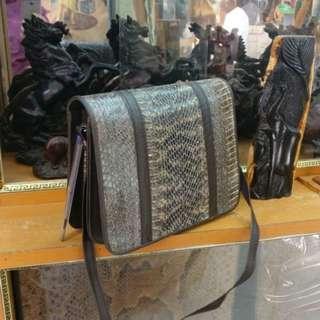 Snake leather handmade bag