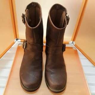 專櫃真皮手工女靴 鞋子長度25.5cm