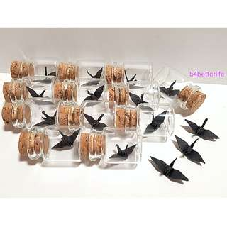 #CIB12j. Lot of 12pcs Black Color 1-inch Hand-folded Paper Crane In A Mini Glass Bottle With Cork. (KR paper series).