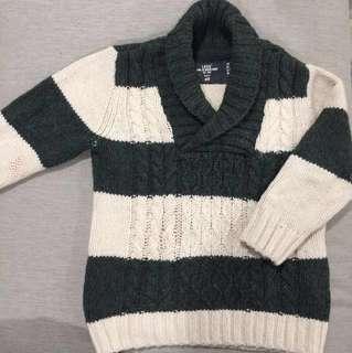 H&M Boy Green & Cream Knitted Sweater