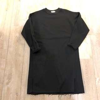 黑色長版 棉質洋裝