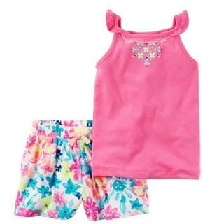 CARTER'S 2-Piece Flutter Sleeve and Fliral Short Set