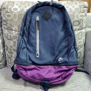 Nike unisex backbag 背囊 (9成新, 牛仔藍/紫色) 100% Real