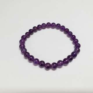 17cm, 6mm round amethyst elastic bracelet.