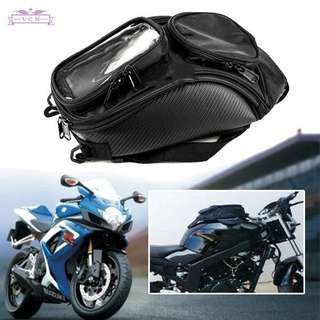 Magnetic motorcycle oil fuel tank saddle pouch holder