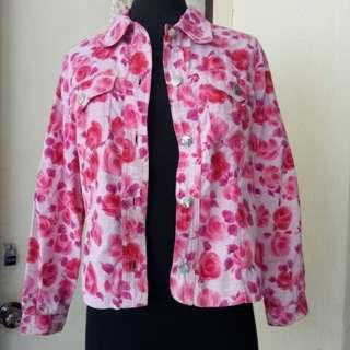 Blumarine Pink Floral Velvet Jacket