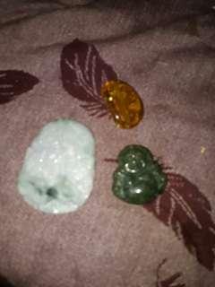 緬甸玉加琥珀3件出清花蓮地震義賣收據為憑寄出
