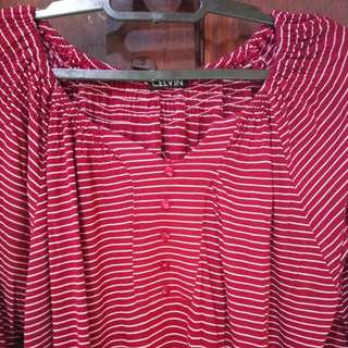 Stripe maroon big size