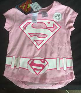 BNWT -superwoman pink shirt SIZE:1