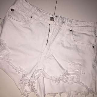 White frayed factorie shorts