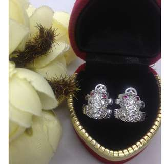 Authentic Bangkok Gold 10k Saudi Gold Frog Luck Charm Stud Earrings Attracts Money with Zirconia Stones Non Tarnish (Not Pawnable)