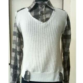 Checked Longsleeves with attached Vest