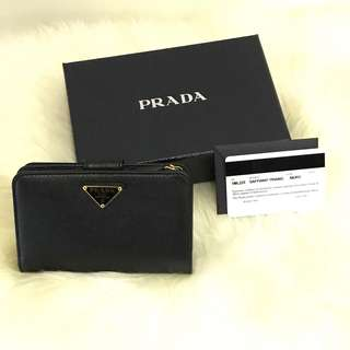 💯% Authentic Brand New Prada Black Saffiano Bi-Fold Wallet