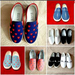 Clearance! All must go at $6/pair. Brand New Loafer/ Slip-on / Heart Shoes / Denim shoes / White Shoes / Black Shoes