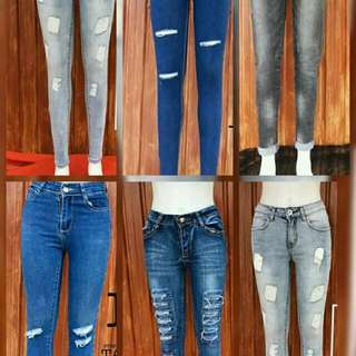 SKINNY JEANS+TATTERED JEANS