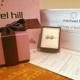 Authentic Michael Hill Real Diamond 0.50 carat with real white gold earrings