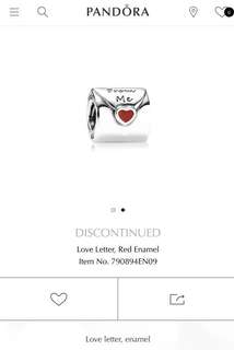 Pandora Love letter Charm - Preloved