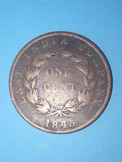 East India Company One Cent Year 1845 sale 30%