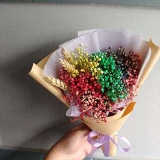 Dried Baby Breath Rainbow Bouquet