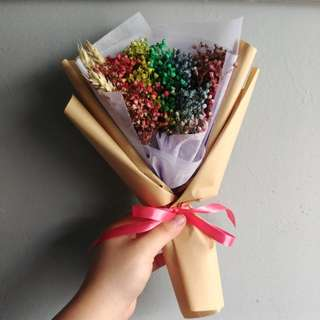 Dried RainbowBaby Breath Flower Bouquet