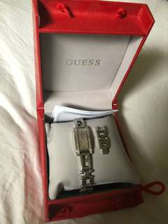 Guess watch silver with rhinestones