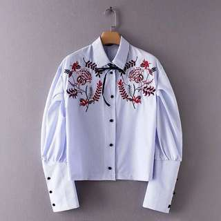 🔥Europe Hundred Lapel Bubble Sleeve Stripe Embroidery Shirt