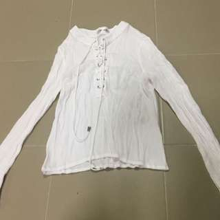 White shoelace Long Sleeve Top
