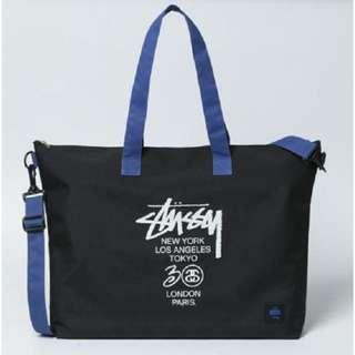 [PO] STUSSY Black Zip Tote Bag with Blue Strap *Japanese Magazine GWP* ASC3200 + FREE Post