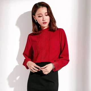 Red blouse long sleeves top