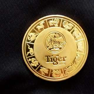 24K Gold Plated Tiger Beer Limited Edition Medallion - Year 2004 / Zodiac Monkey