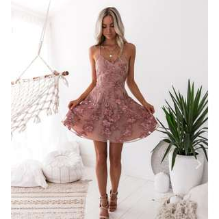 Twosister's The Label  SASSY DRESS - EMBROIDERY ROSE (negotiable price)