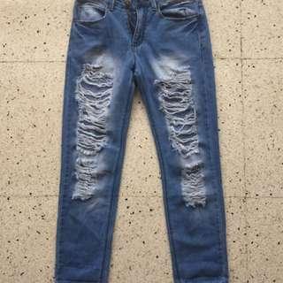high waist tattered pants