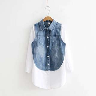 2018 Spring fake two jeans stitching white shirt in long shirt